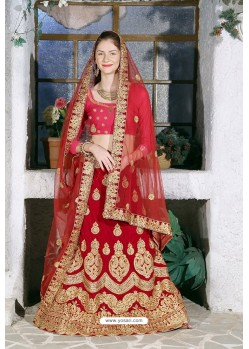 Red Velvet Heavy Worked Designer Lehenga Choli