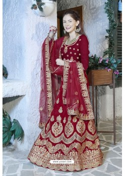 Glorious Maroon Velvet Zari Worked Designer Lehenga Choli