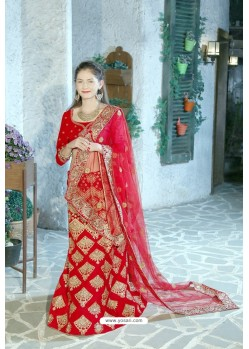 Radiant Red Velvet Zari Worked Designer Lehenga Choli