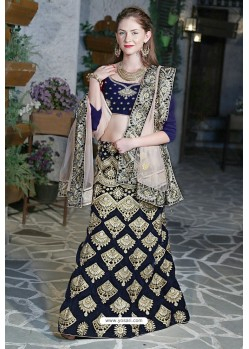 Feminine Navy Velvet Zari Worked Designer Lehenga Choli