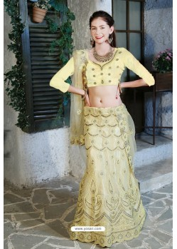 Cream Velvet Heavy Worked Designer Lehenga Choli