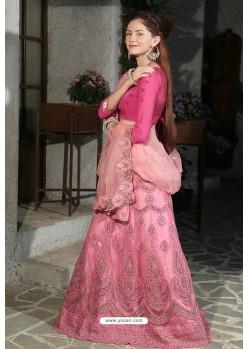 Light Pink Velvet Heavy Worked Designer Lehenga Choli