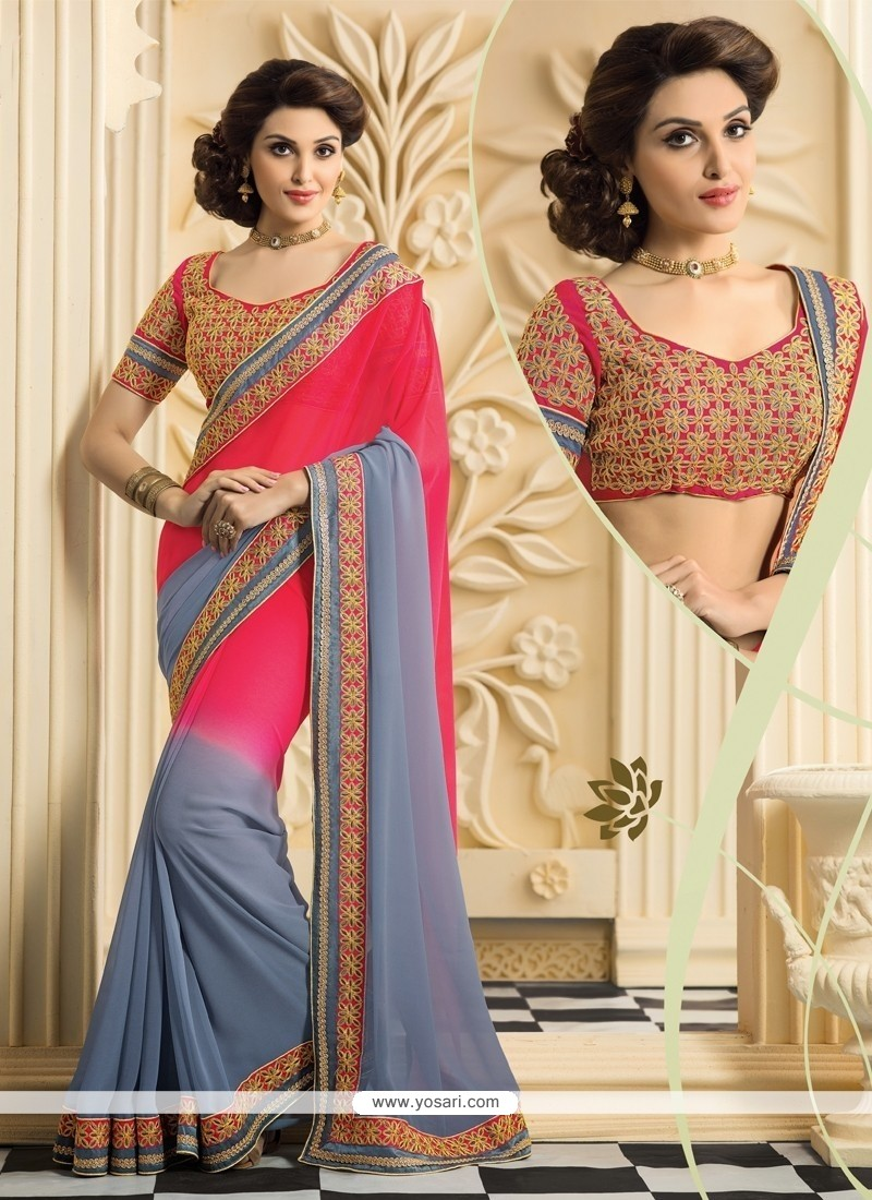 Red And Grey Georgette Casual Saree
