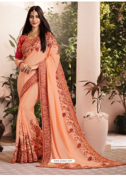 Light Orange Silk Fancy Georgette Part Wear Saree