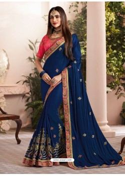 Navy Blue Silk Fancy Georgette Part Wear Saree