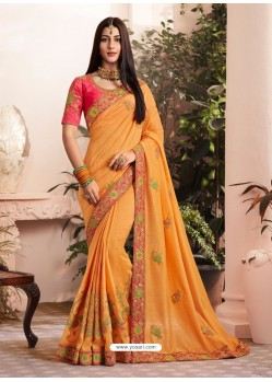 Orange Silk Fancy Georgette Part Wear Saree