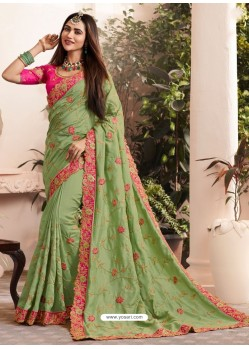 Green Silk Fancy Georgette Part Wear Saree
