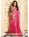 Hot Pink And Red Shaded Georgette Saree