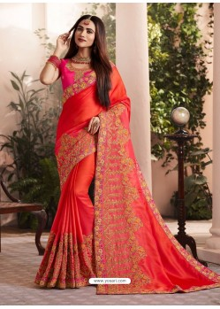 Red Silk Fancy Georgette Part Wear Saree