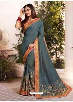 Dull Grey Silk Fancy Georgette Part Wear Saree