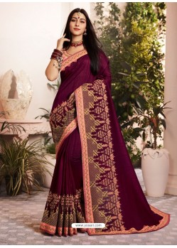 Deep Scarlet Silk Fancy Georgette Part Wear Saree