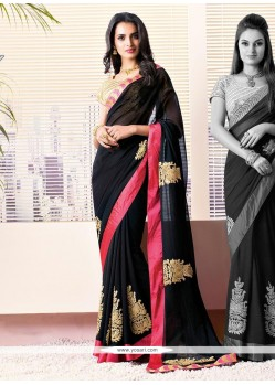 Black Zari Enhanced Faux Chiffon Saree