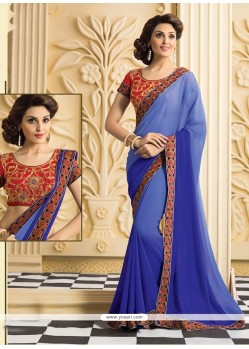 Dazzling Blue Georgette Casual Saree
