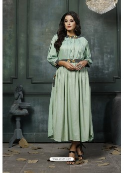 Sea Green Heavy Rayon Embroidered Hand Worked Kurti