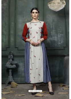 Light Grey And Multi Heavy Rayon Embroidered Hand Worked Kurti