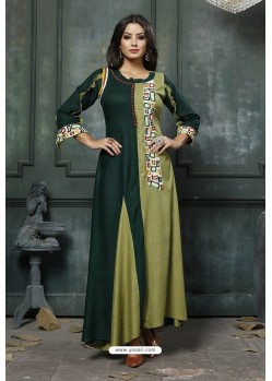 Dark Green And Mehendi Heavy Rayon Embroidered Hand Worked Kurti