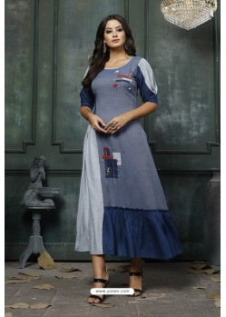Pigeon Blue Heavy Rayon Embroidered Hand Worked Kurti