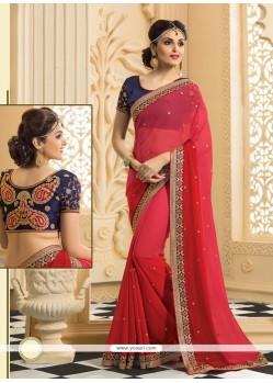 Lovely Red Chiffon Wedding Saree