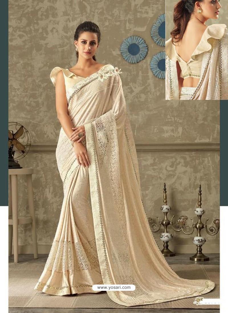 4eba9f514e Buy Beautiful Cream Lycra Jewel Lace Party Wear Saree | Party Wear ...