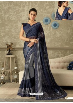 52baccf468e7d6 Buy Navy And Silver Lycra Fancy Net Party Wear Saree   Party Wear Sarees