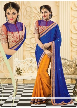 Blue And Orange Silk Designer Saree