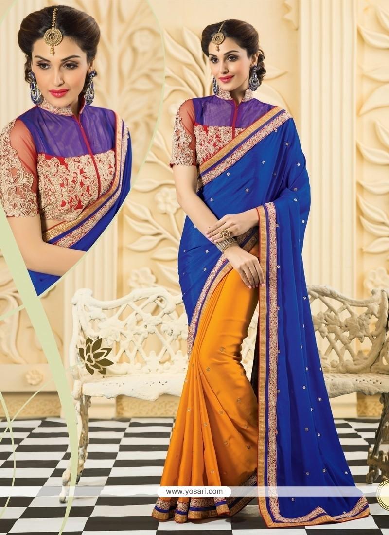 Blue And Orange Silk Designer Saree