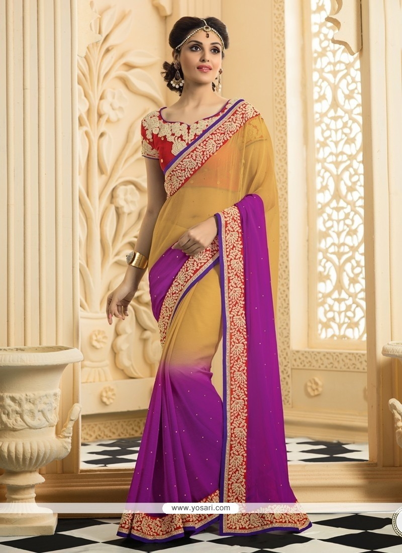 Cream And Purple Shaded Chiffon Saree