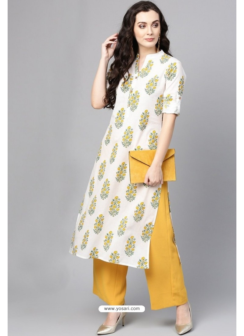 d23d193b091 Buy Off White Cotton Printed Casual Wear Kurti