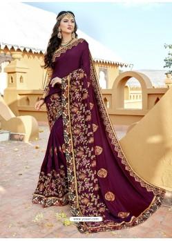 Purple Vichitra Silk Zari Embroidered Party Wear Saree