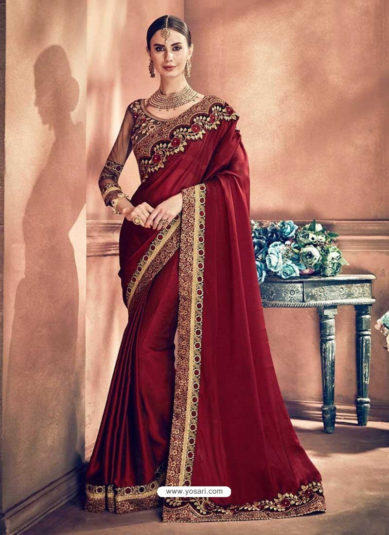 f8fa136eec Buy Maroon Georgette Border Worked Party Wear Saree | Party Wear Sarees