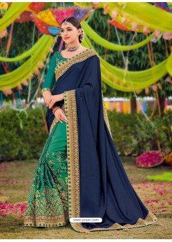 Navy Blue And Green Two Tone Satin Designer Wedding Saree
