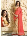 Cream And Red Chiffon Designer Saree