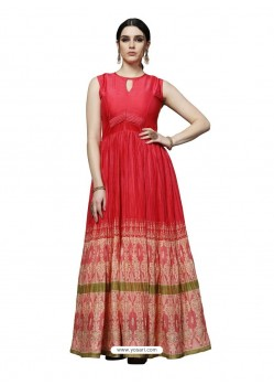 Red Dulux Silk Digital Printed Gown