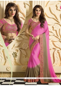 Light Pink Satin Silk Designer Saree