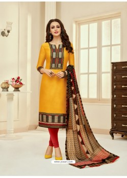 Yellow And Red Cotton Diamond Worked Churidar Suit