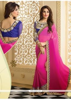 Splendid Pink Faux Chiffon Designer Saree