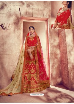 Excellent Red Silk Zari Heavy Embroidered Bridal Lehenga Choli