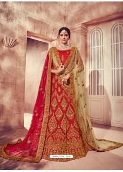 Nice Looking Red Silk Zari Heavy Embroidered Bridal Lehenga Choli