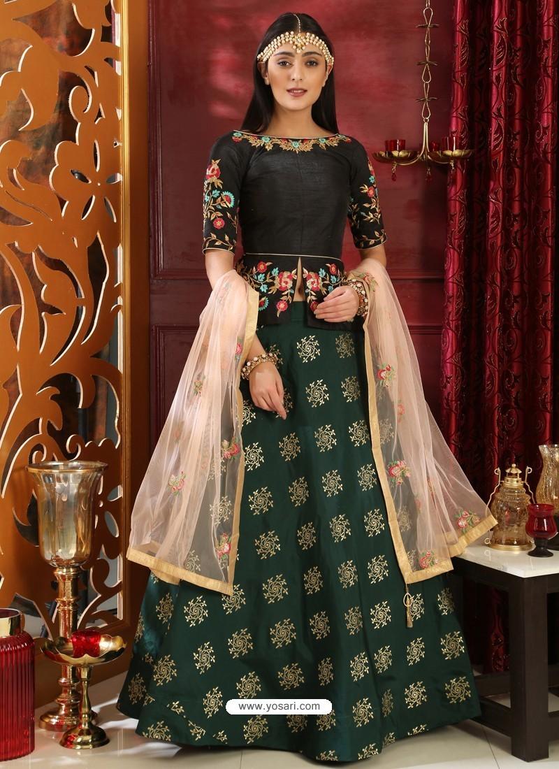 10ecf9dfc3 Buy Black And Dark Green Jacquard Silk Embroidered Designer Lehenga ...