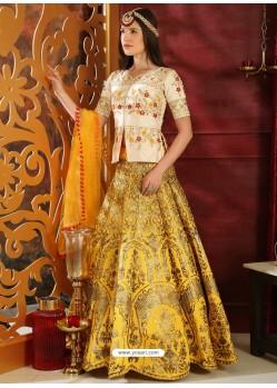 Yellow And Cream Jacquard Silk Embroidered Designer Lehenga Choli