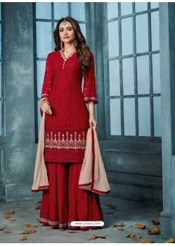 Red Georgette Embroidered Designer Palazzo Suit
