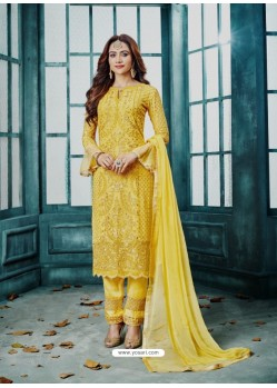 Yellow Georgette Embroidered Designer Straight Suit