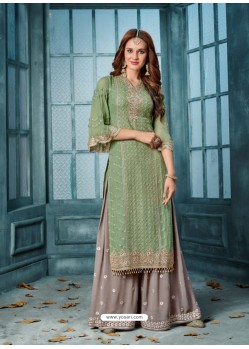 Green And Grey Georgette Embroidered Designer Palazzo Suit