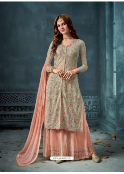 Light Beige And Peach Heavy Net Georgette Embroidered Designer Palazzo Suit