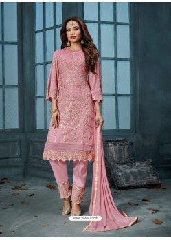Pink Georgette Embroidered Designer Straight Suit