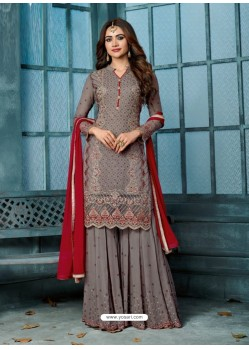 Grey Georgette Embroidered Designer Palazzo Suit