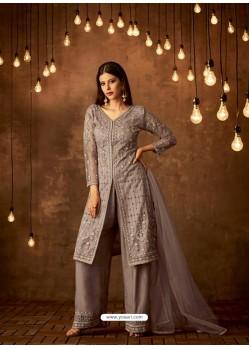 Grey Net Diamond Worked Designer Straight Suit