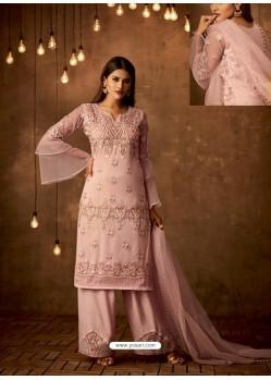 Pink Net Diamond Worked Designer Straight Suit