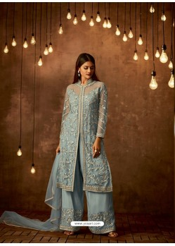 Sky Blue Net Diamond Worked Designer Straight Suit