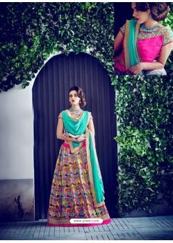Multi Colour Banglori Silk Printed Lace Worked Designer Lehenga Choli
